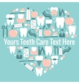 Dental care heart symbol vector image vector image