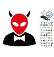 Devil Icon with 2017 Year Bonus Symbols vector image
