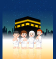family are doing pilgrimage in front kabah vector image vector image