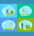 farmer working on land with tools cartoon banner vector image