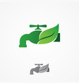 faucet and leaf element design vector image vector image