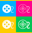 film circular sign four styles of icon on four vector image