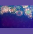 fireworks background on twilight blue backdrop vector image vector image