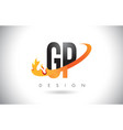 gp g p letter logo with fire flames design and vector image vector image