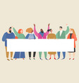 group young women and men holding empty banner vector image