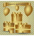 Happy birthday gold theme with gifts and balloons