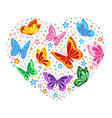 heart of butterflies and flowers vector image
