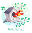 Hello spring poster birdhouse and a singing bird