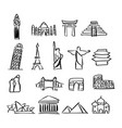 icon set of famous landmarks around the world vector image vector image