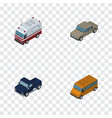 isometric car set of suv auto first-aid and vector image vector image