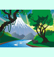 landscape - mountain river swans on the river vector image vector image