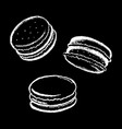 macarons white chalk on black vector image vector image