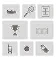monochrome set with tennis icons vector image vector image