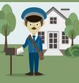 official postman in uniform vector image