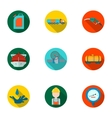 Oil industry set icons in flat style Big vector image vector image