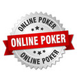 online poker round isolated silver badge vector image vector image