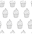 Pattern Cupcake in cartoon vector image vector image