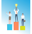 people winners podium isolated businessman vector image