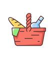picnic basket rgb color icon vector image vector image