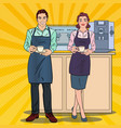 pop art couple of barista preparing coffee in cafe vector image vector image