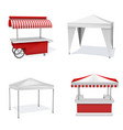promotion counters outdoor realistic set party vector image vector image
