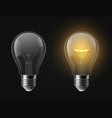realistic light bulb turned off and glowing vector image