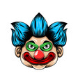scary clown head with big red lip and big vector image vector image