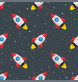 seamless pattern with rocket space ship and stars vector image