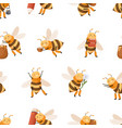 seamless repeatable pattern with cute honey bees vector image