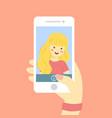 selfie blonde girl vector image