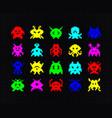 set colorful pixel art monsters or aliens vector image