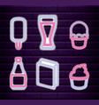 set ice cream with drink and bag paper neon light vector image