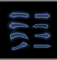 set of different neon blue arrows vector image vector image