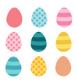 set of easter eggs flat design on white background vector image