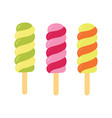set of ice cream on a stick vector image vector image