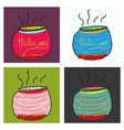 set of witches cauldron with potion isolated on vector image vector image