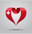 swiss flag heart-shaped ribbon vector image vector image