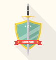 Sword and shield flat style badge icon vector image vector image