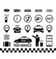 transport set black taxi icons with car vector image