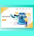 voice assistant website landing page design vector image vector image