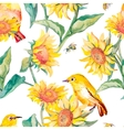 Watercolor patternWhite-eye bird and sunflower vector image vector image