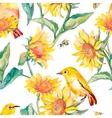 Watercolor patternWhite-eye bird and sunflower vector image