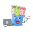 with laptop rolled ice creams in cartoon cups vector image vector image