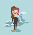 young caucasian scuba diver in diving suit vector image vector image