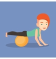 Young woman exercising with fitball vector image vector image