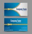 Zipper theme business card vector image vector image