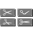 set white scissors on gray plate vector image
