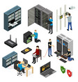 server hardware signs icons set isometric view vector image