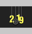 2019 new year and bicycle wheel hanging on strings vector image vector image
