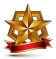 3d golden heraldic blazon with glossy pentagonal vector image vector image
